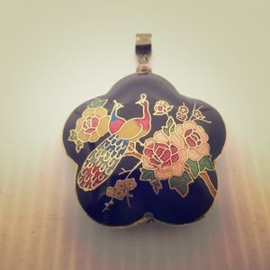 Cloisonné peacock & flower pendant